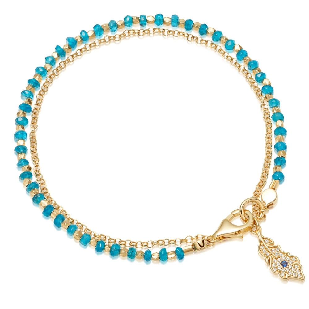 Apatite Peacock Feather Biography Bracelet