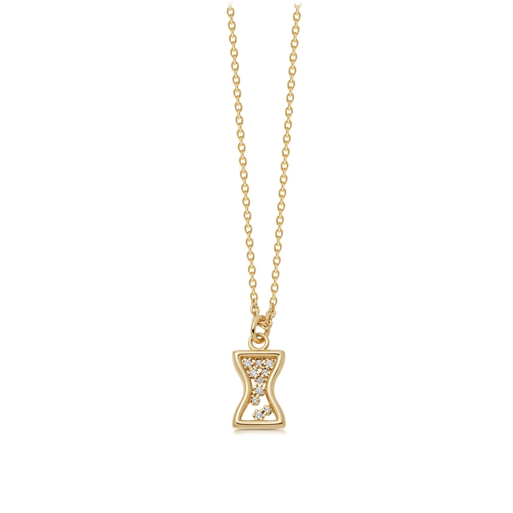 Biography Hourglass Gold Pendant