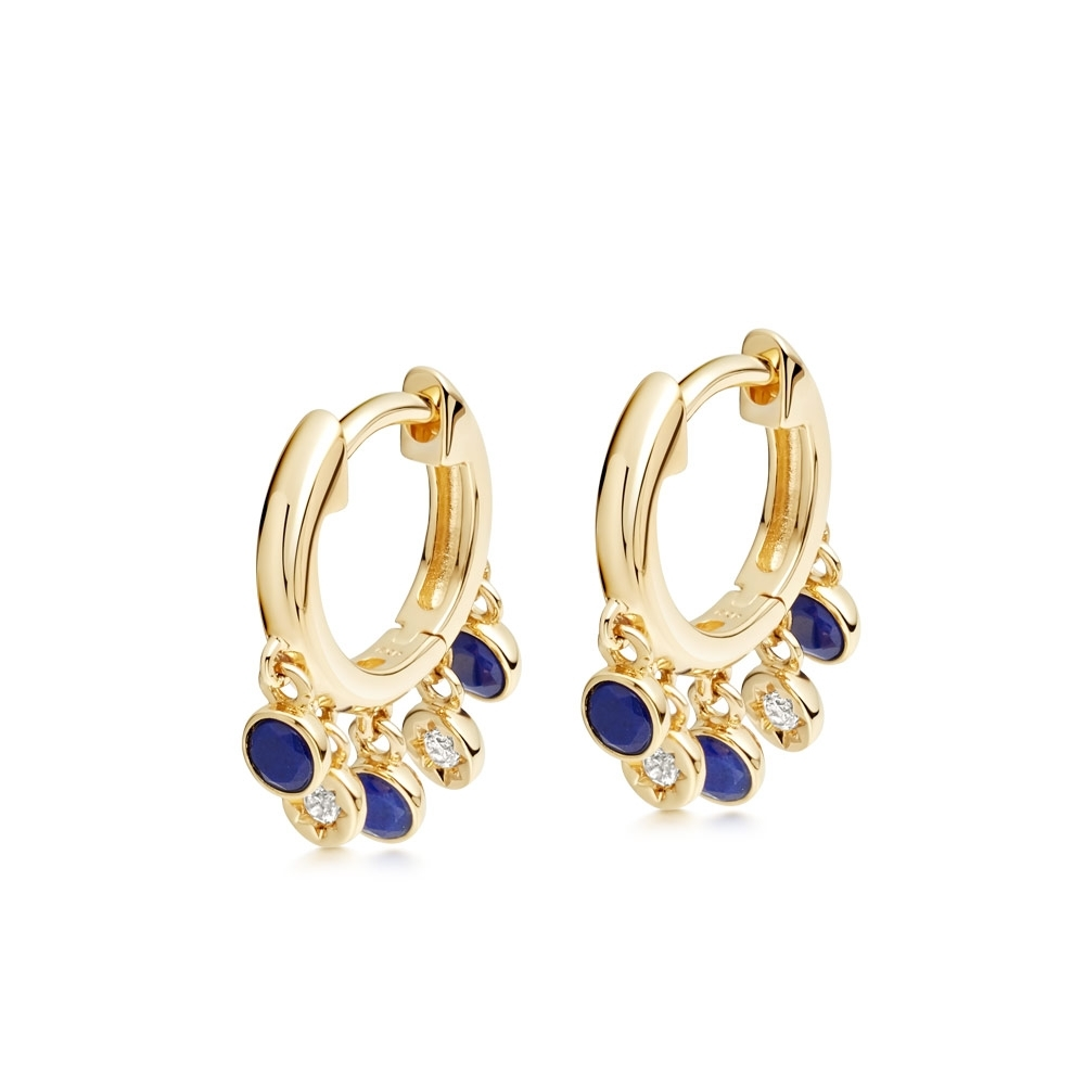 Biography Droplet Lapis Lazuli Hoop Earrings