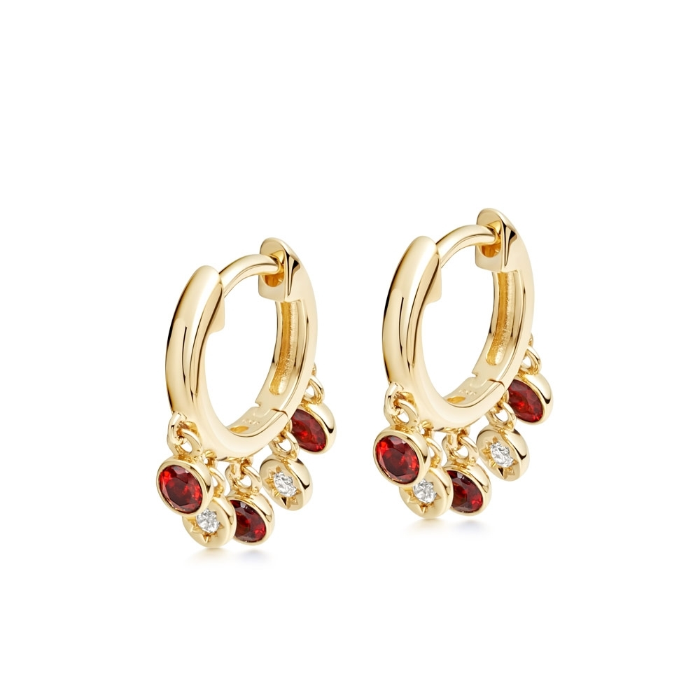 Biography Droplet Garnet Hoop Earrings