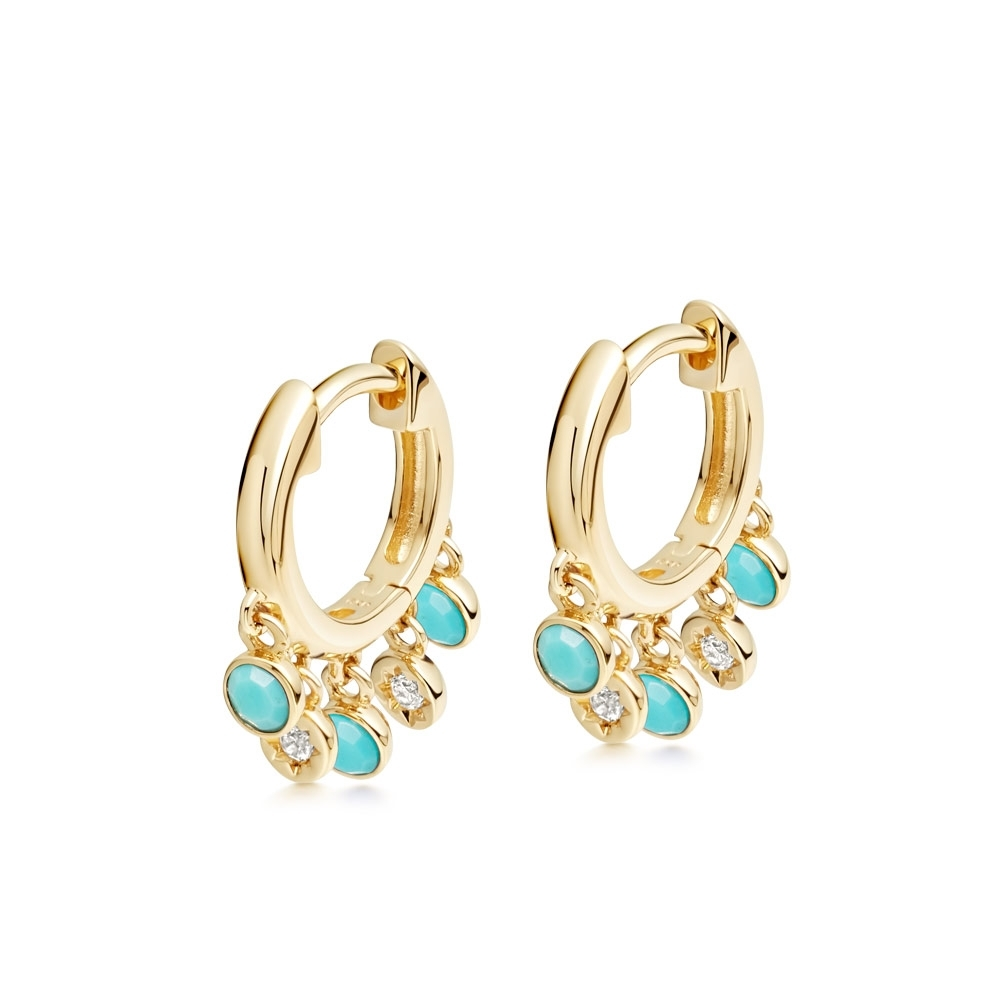 Biography Droplet Turquoise Hoop Earrings
