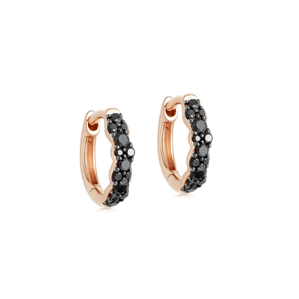 Mini Interstellar Black Diamond Hoop Earrings