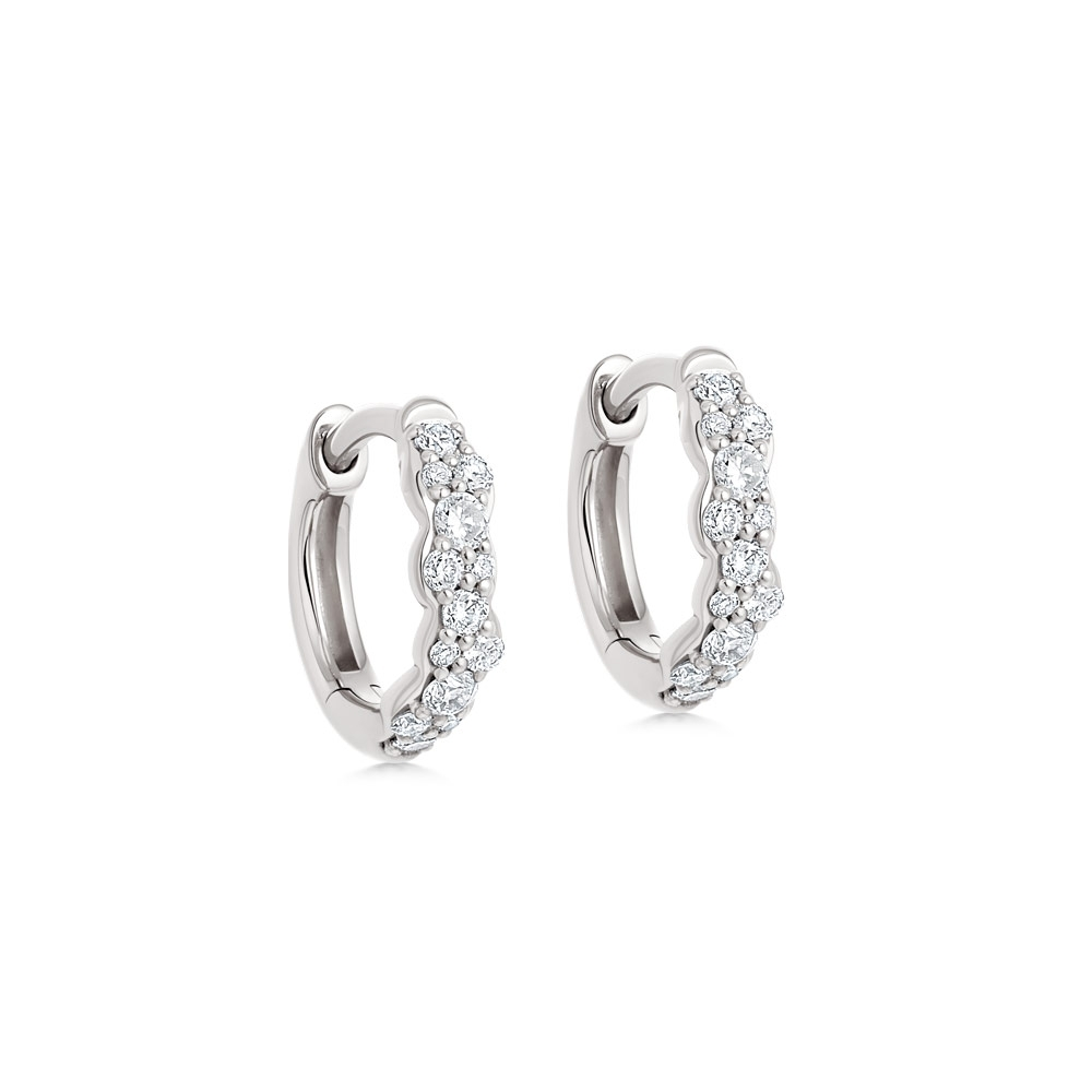 Mini Interstellar Diamond Hoop Earrings