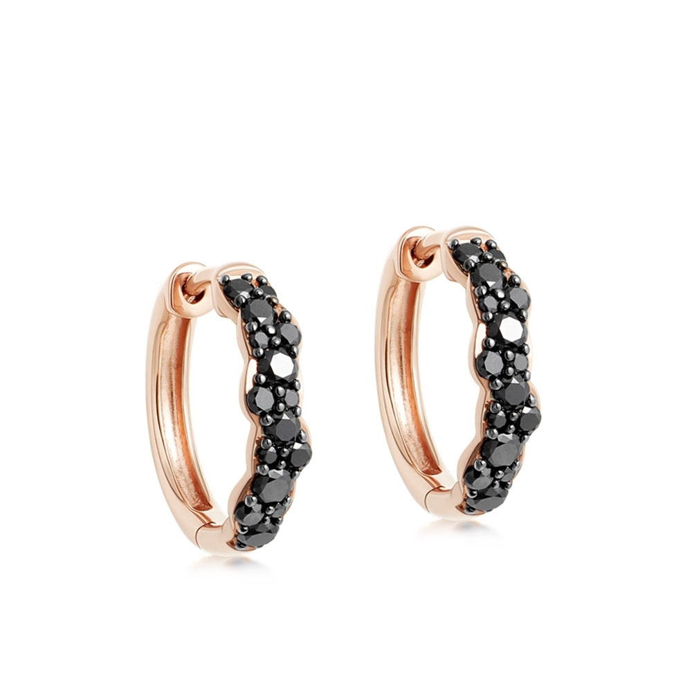 Medium Interstellar Black Diamond Hoop Earrings