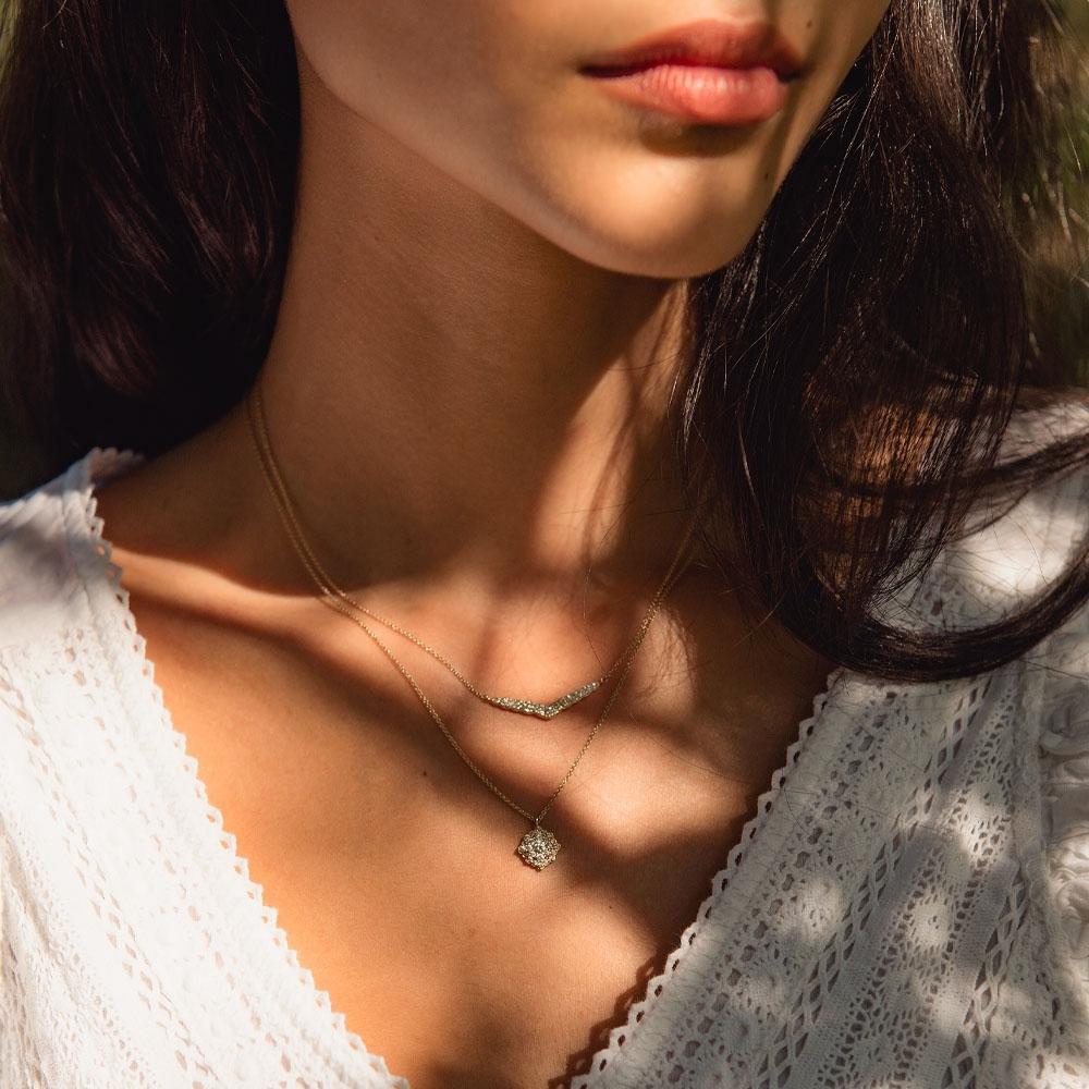 Interstellar Cluster Diamond Pendant Necklace