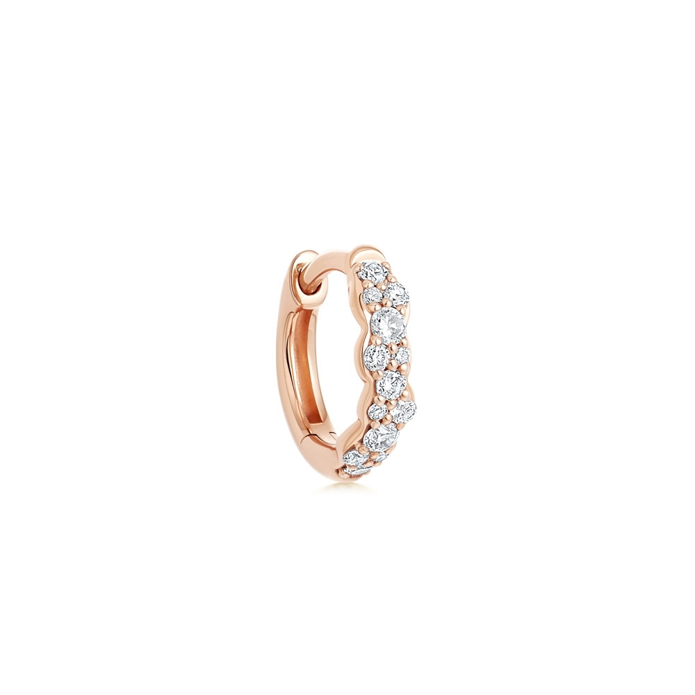 Mini Interstellar Single Diamond Hoop Earring