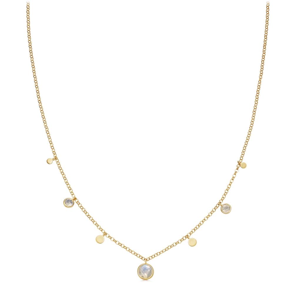 Stilla Droplet Rainbow Moonstone Pendant Necklace