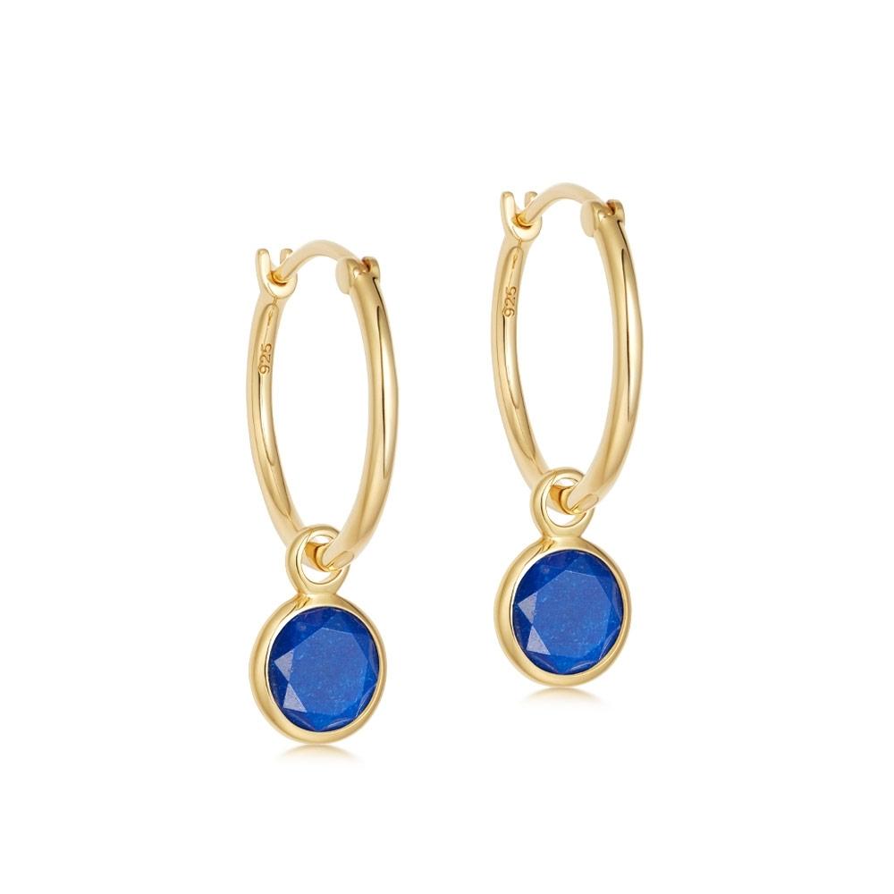 Stilla Lapis Lazuli Drop Hoop Earrings