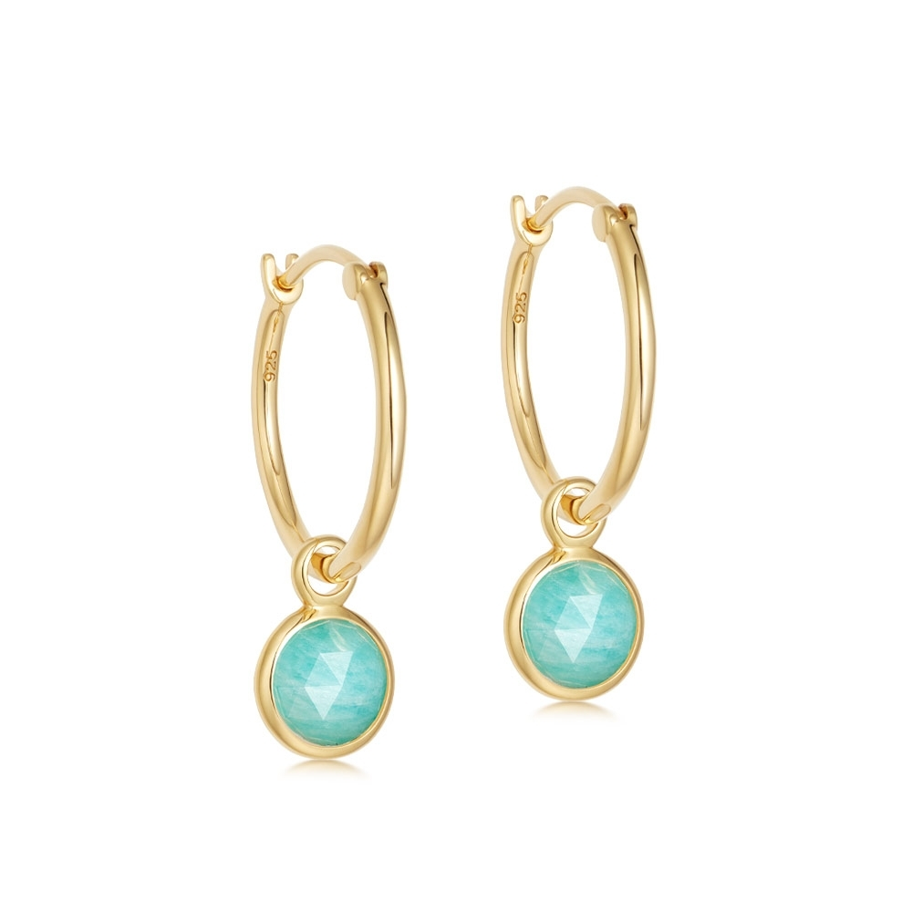 Stilla Amazonite Drop Hoop Earrings