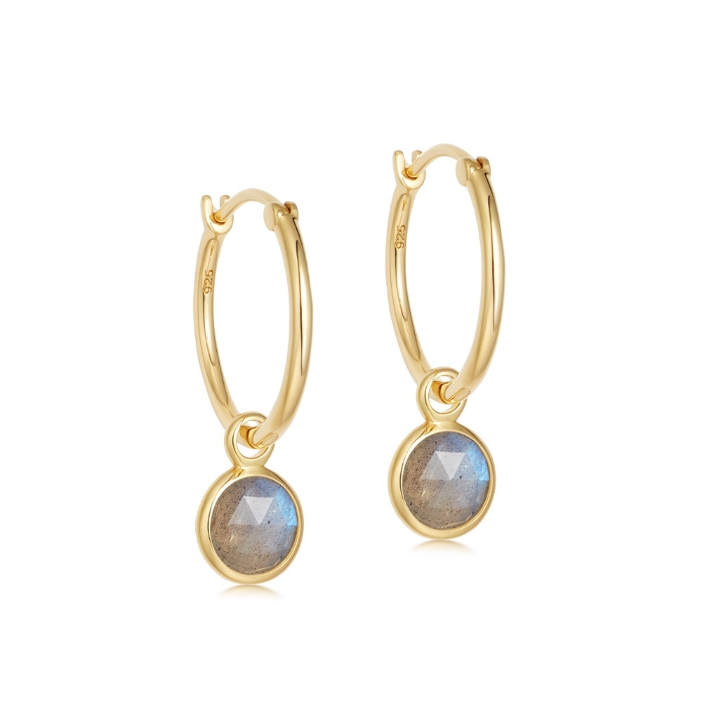 Stilla Labradorite Drop Hoop Earrings