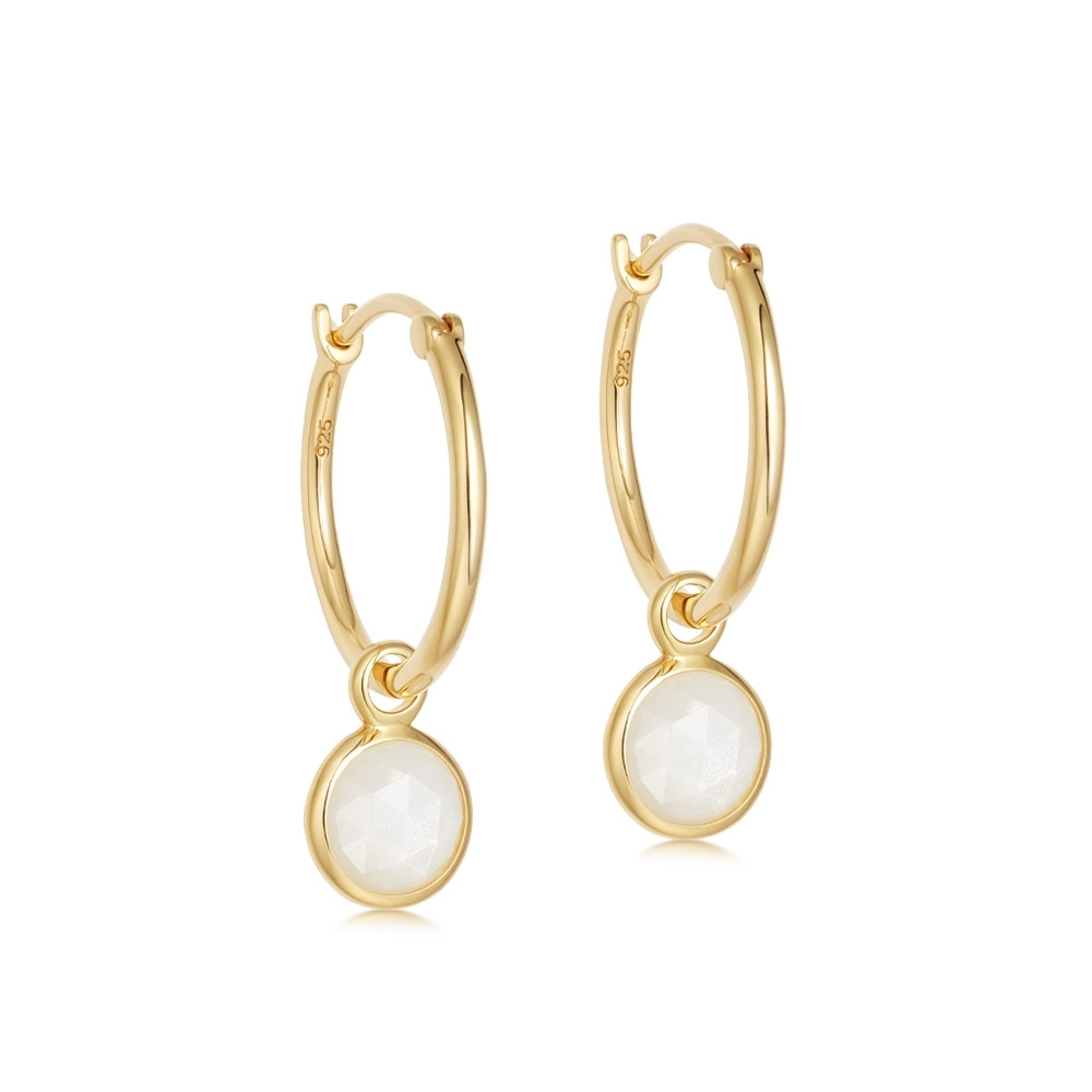 Stilla Moonstone Drop Hoop Earrings