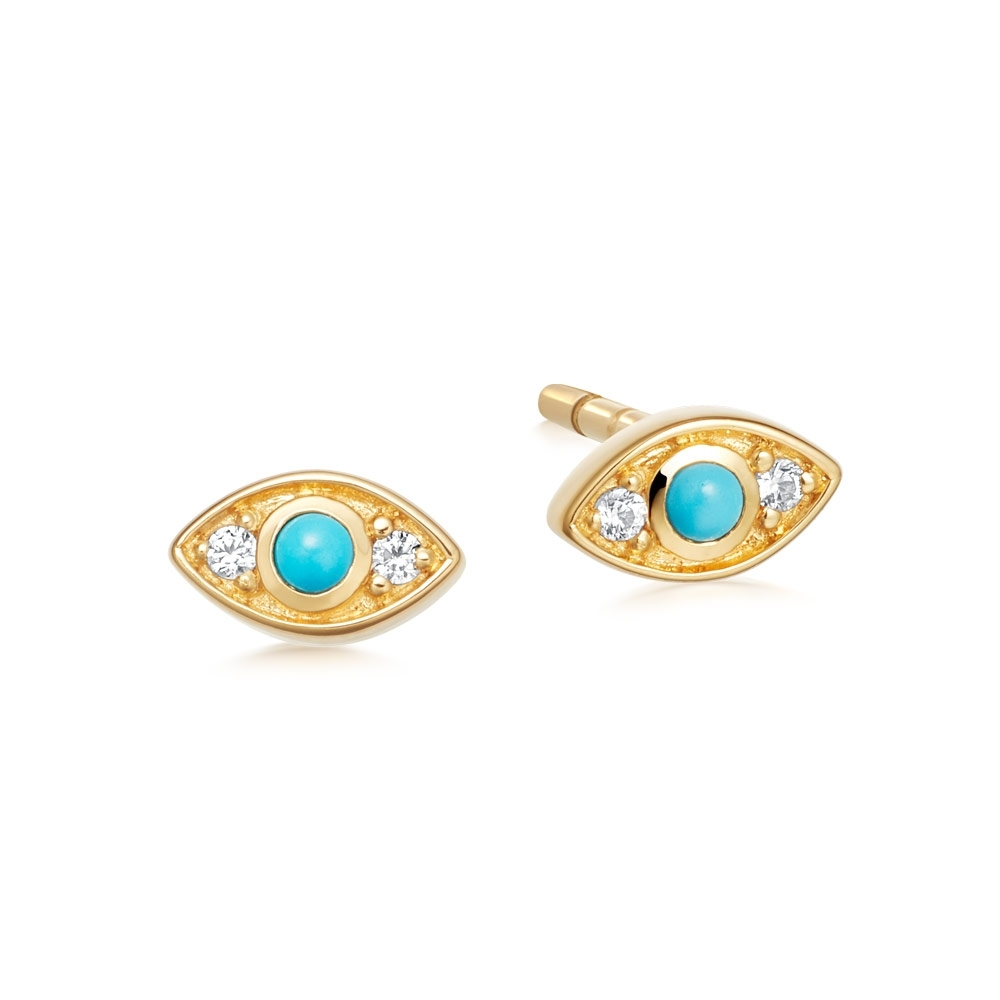 Tiny Biography Evil Eye Stud Earrings