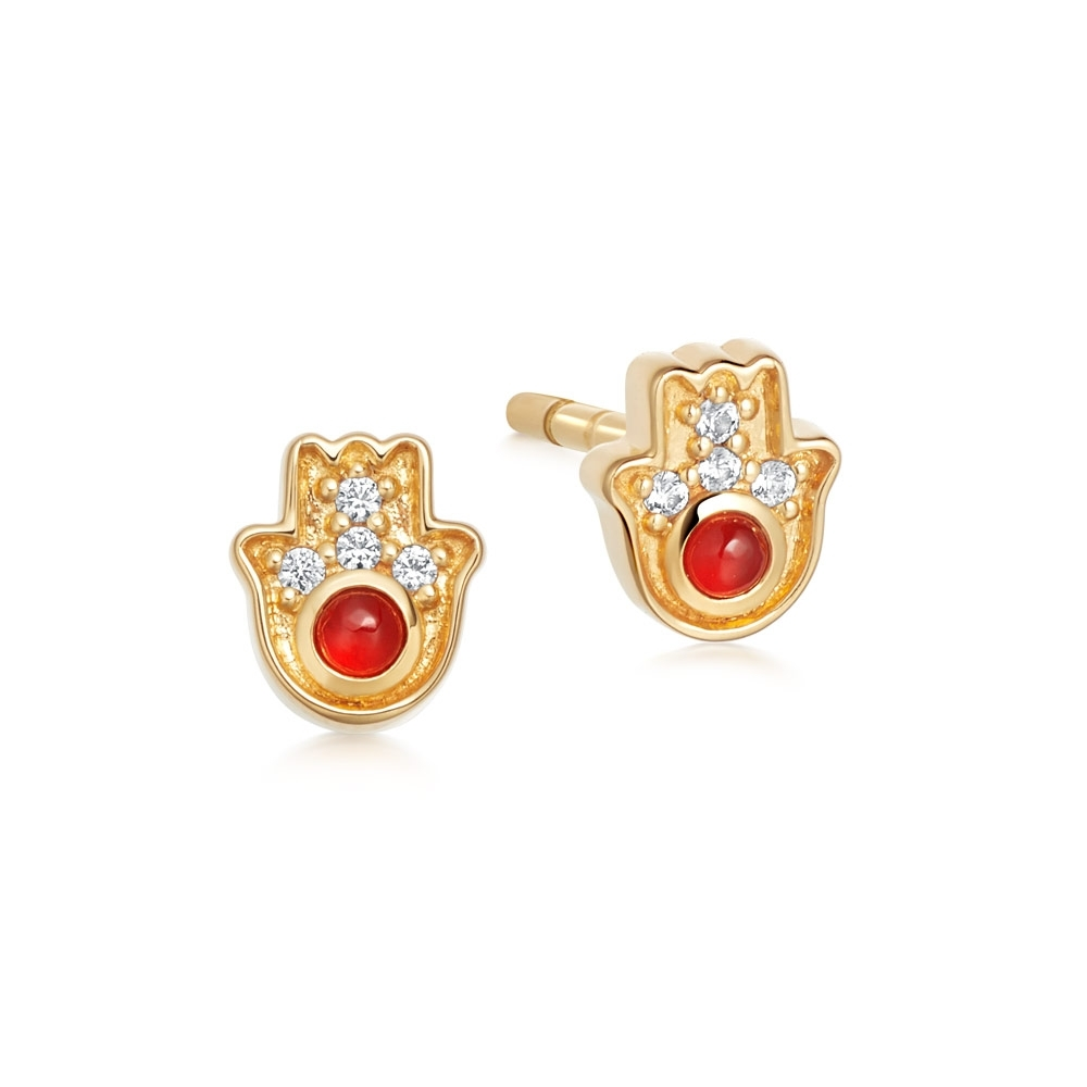 Tiny Biography Hamsa Stud Earrings
