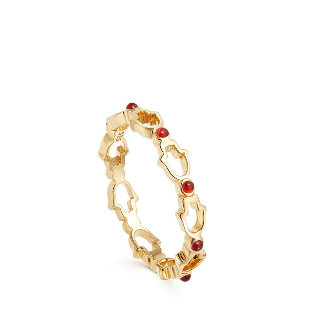 Biography Hamsa Outline Stacking Ring