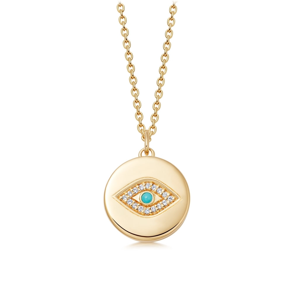 Biography Evil Eye Locket Necklace