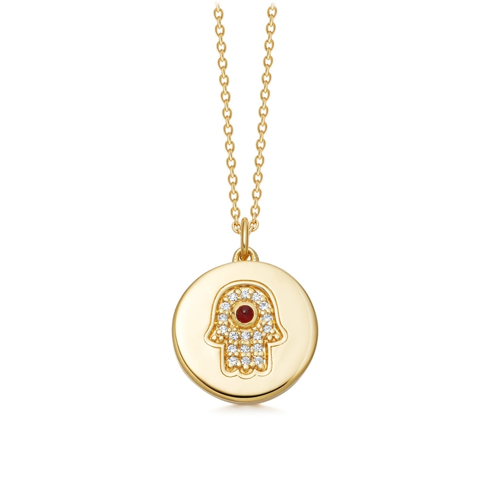 Biography Hamsa Locket Necklace