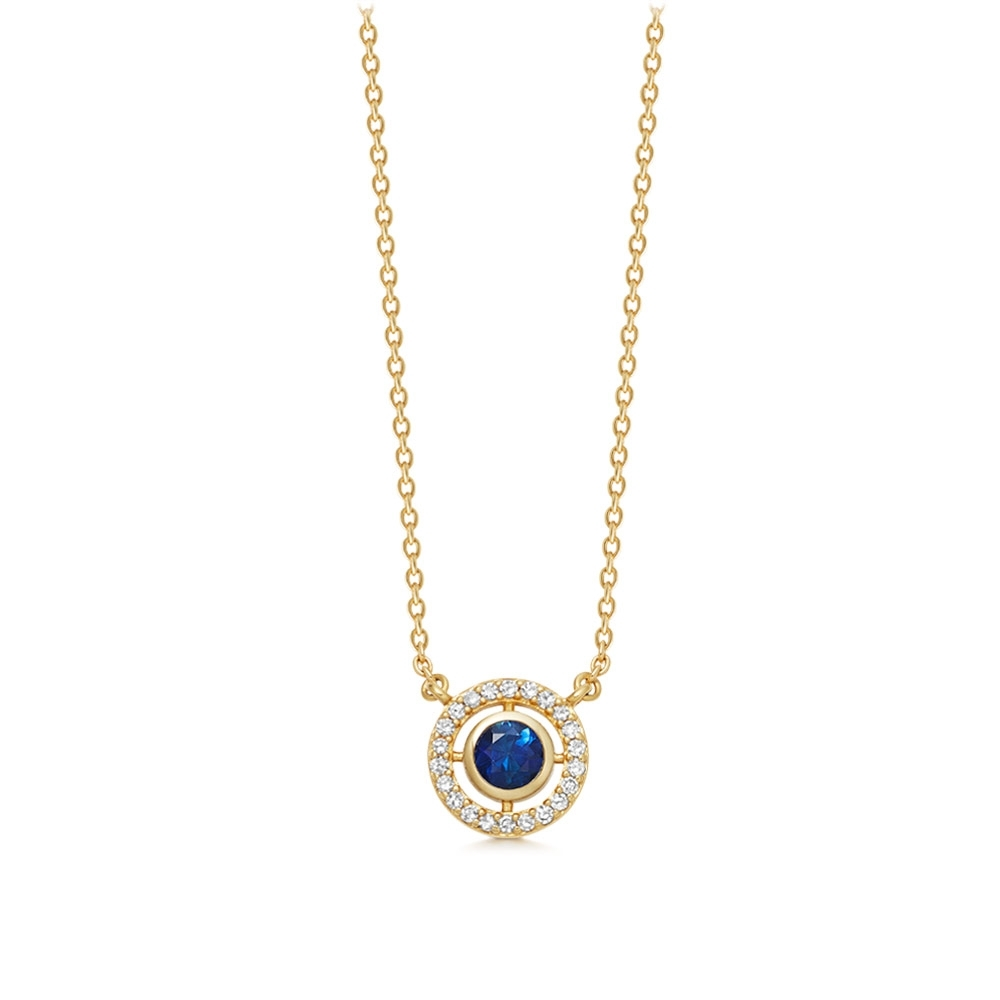 Mini Icon Aura Blue Sapphire Pendant Necklace