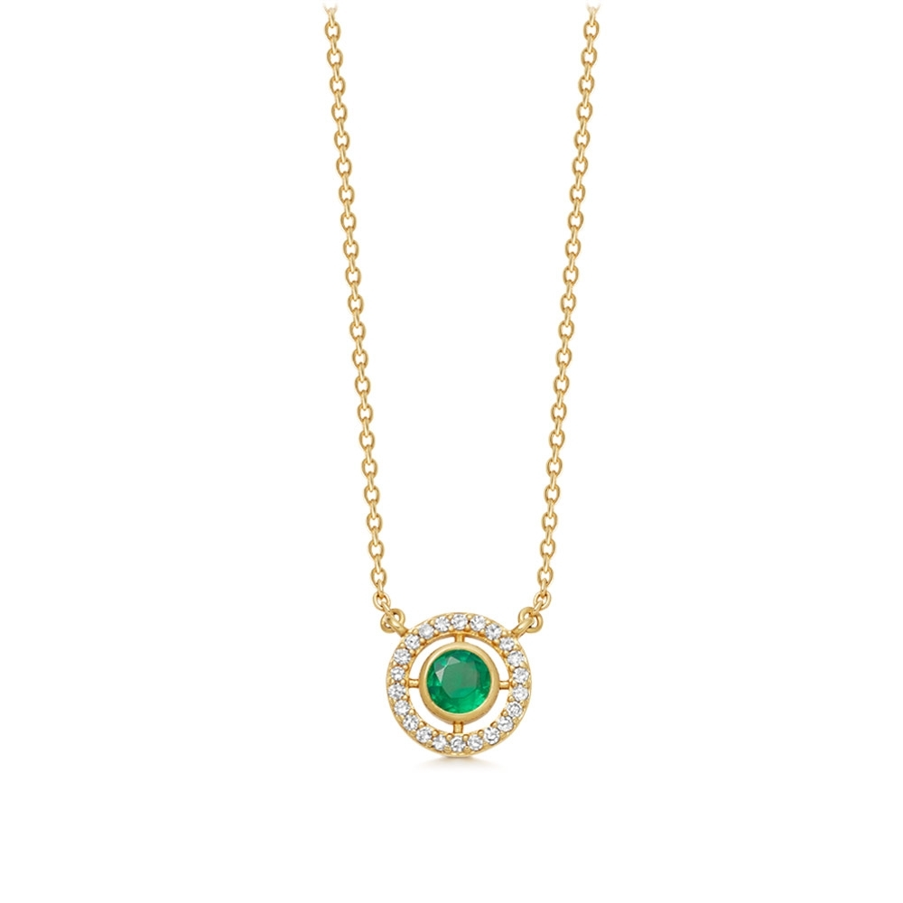 Mini Icon Aura Emerald Pendant Necklace