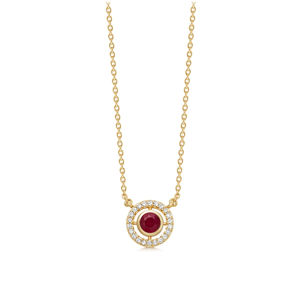 Mini Icon Aura Ruby Pendant Necklace