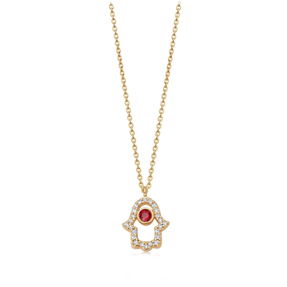 Hamsa Fine Biography Ruby Pendant Necklace