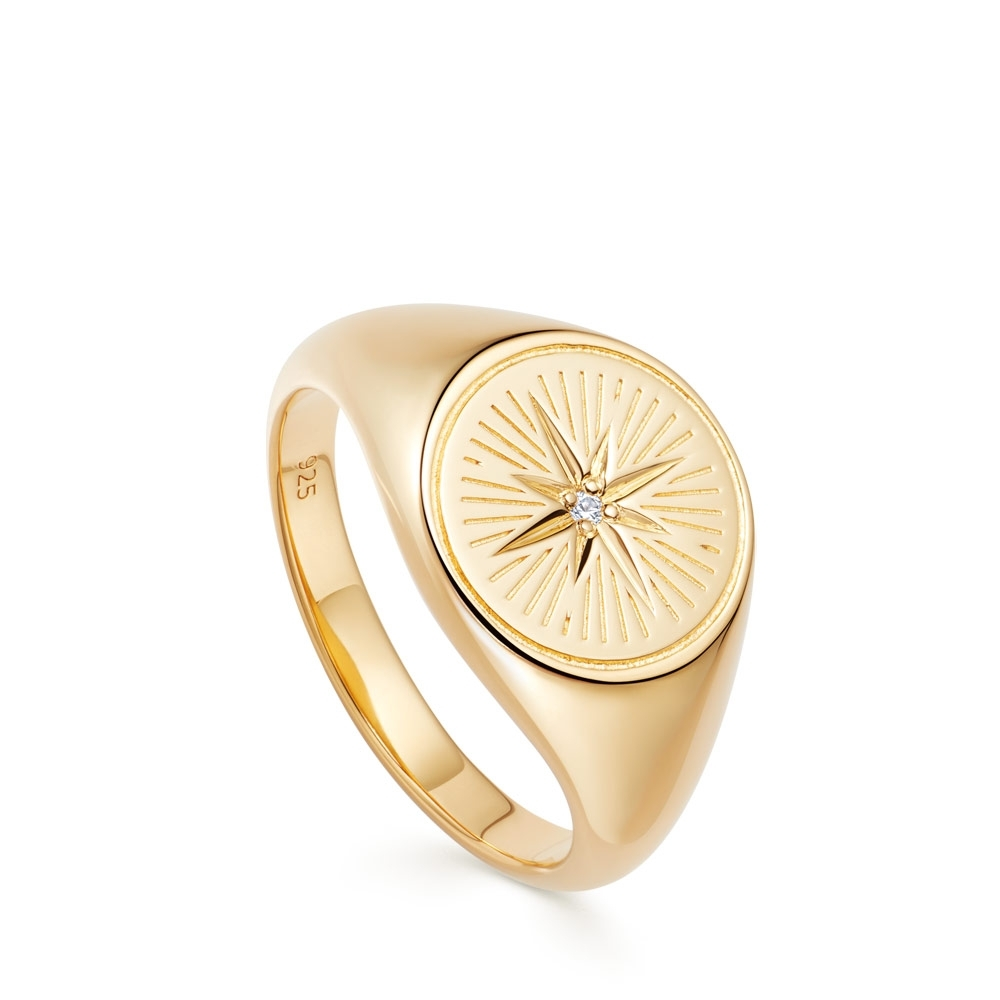 Celestial Compass Signet Ring