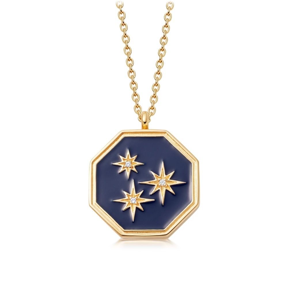 Celestial Blue Enamel Constellation Locket Necklace