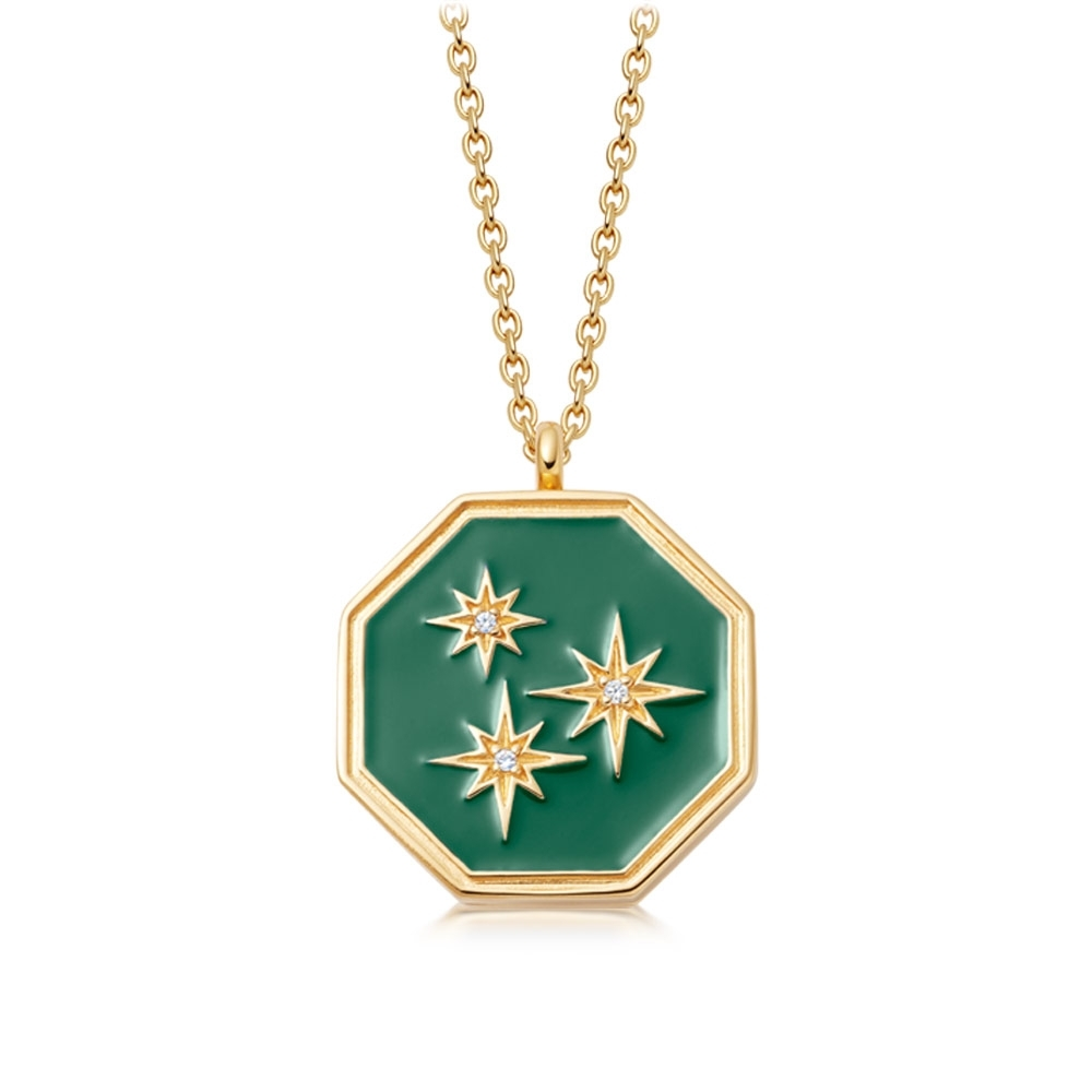 Celestial Green Enamel Constellation Locket Necklace