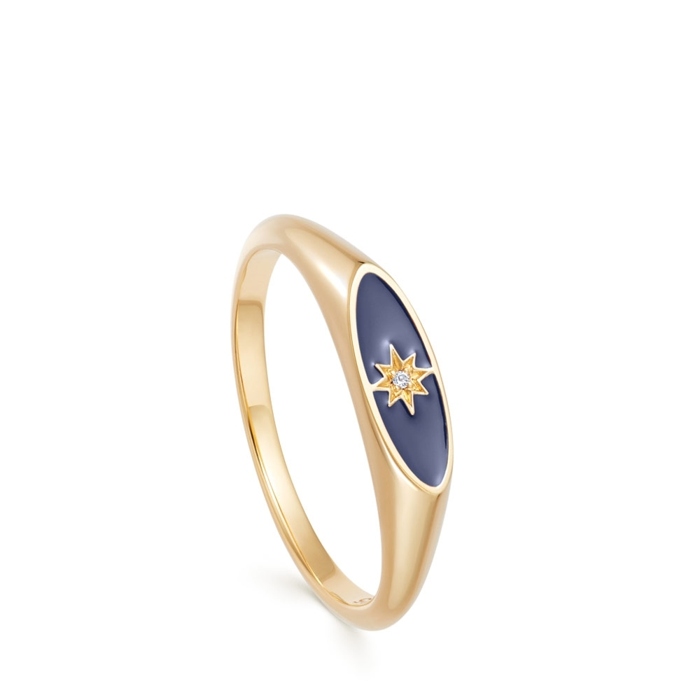 Celestial Blue Enamel Orbit Signet Ring
