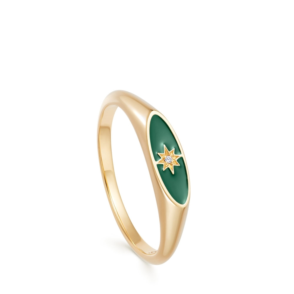 Celestial Green Enamel Orbit Signet Ring