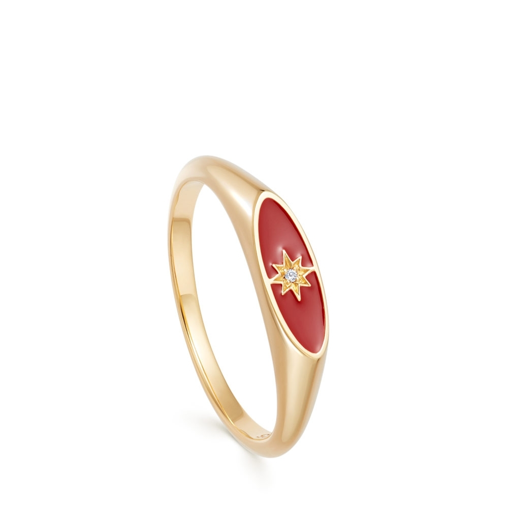 Celestial Red Enamel Orbit Signet Ring