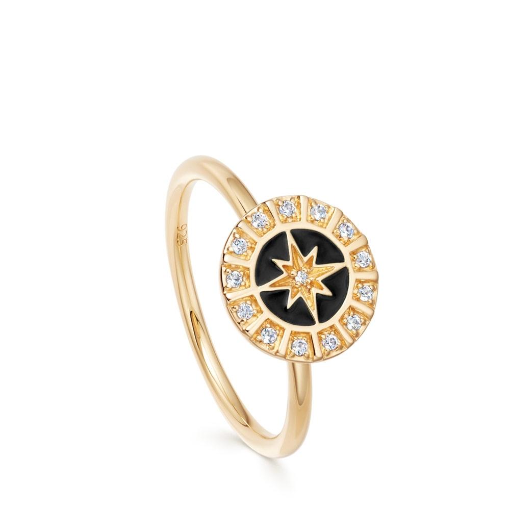 Celestial Black Enamel Astra Ring