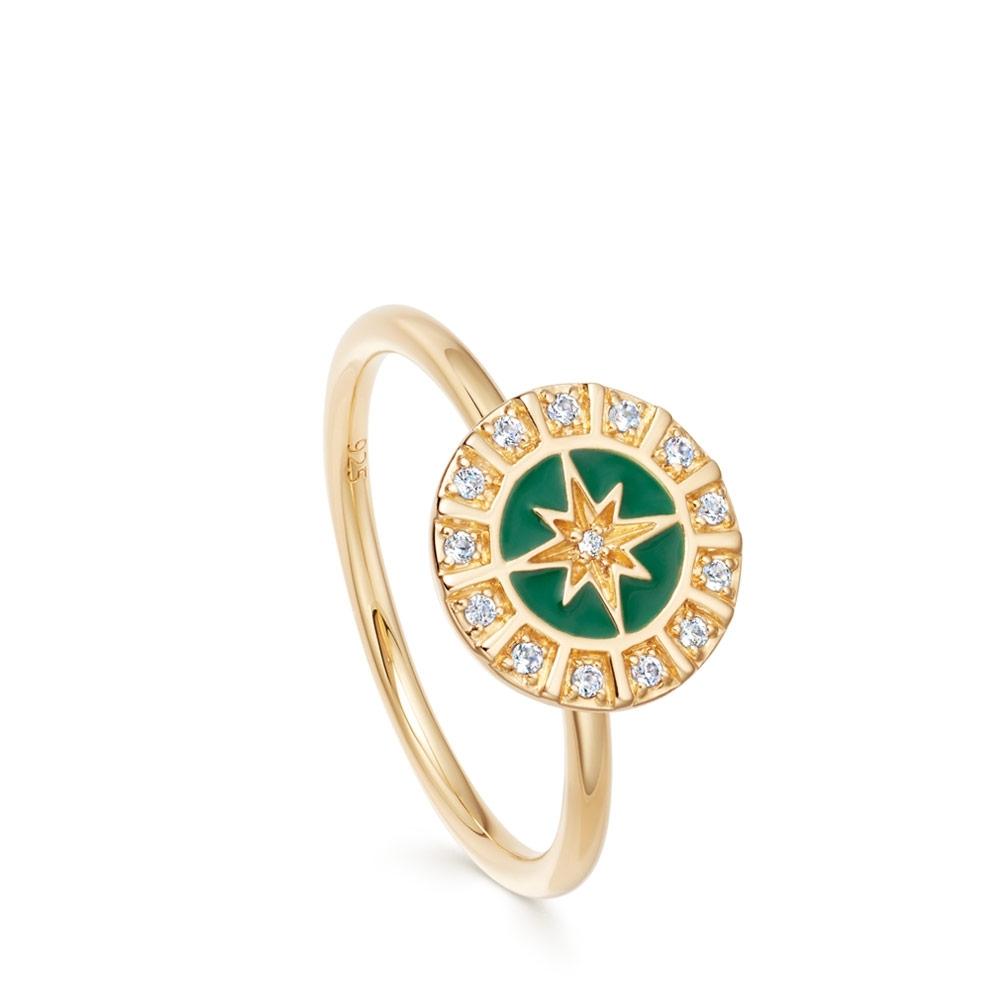 Celestial Green Enamel Astra Ring