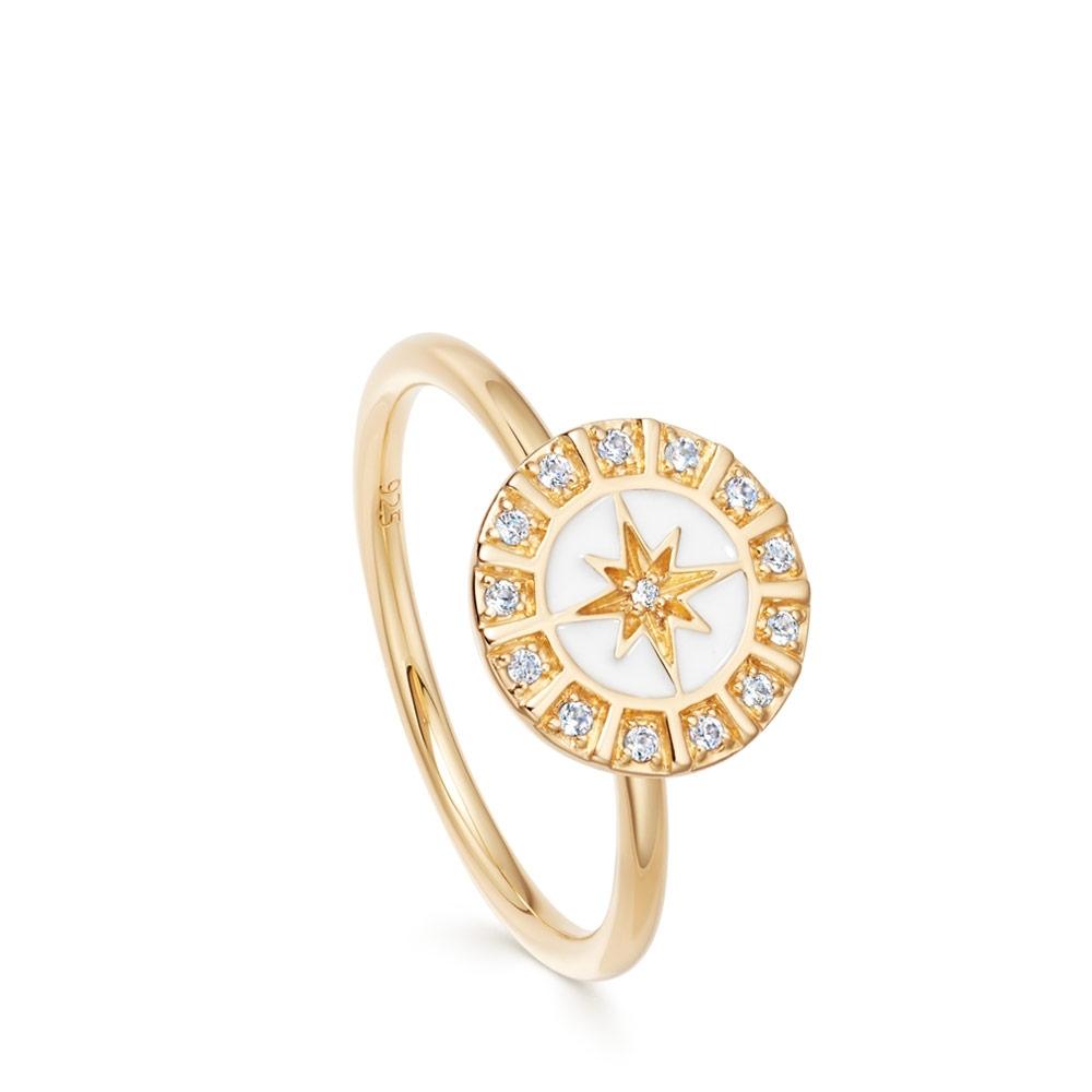 Celestial White Enamel Astra Ring