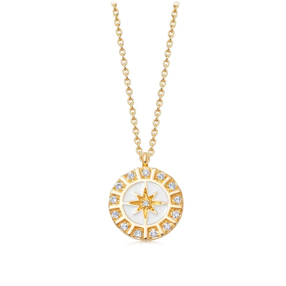 Celestial White Enamel Astra Pendant Necklace