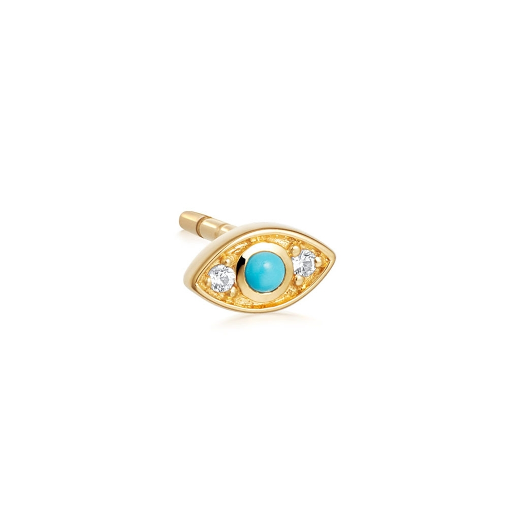 Tiny Biography Evil Eye Single Stud Earring