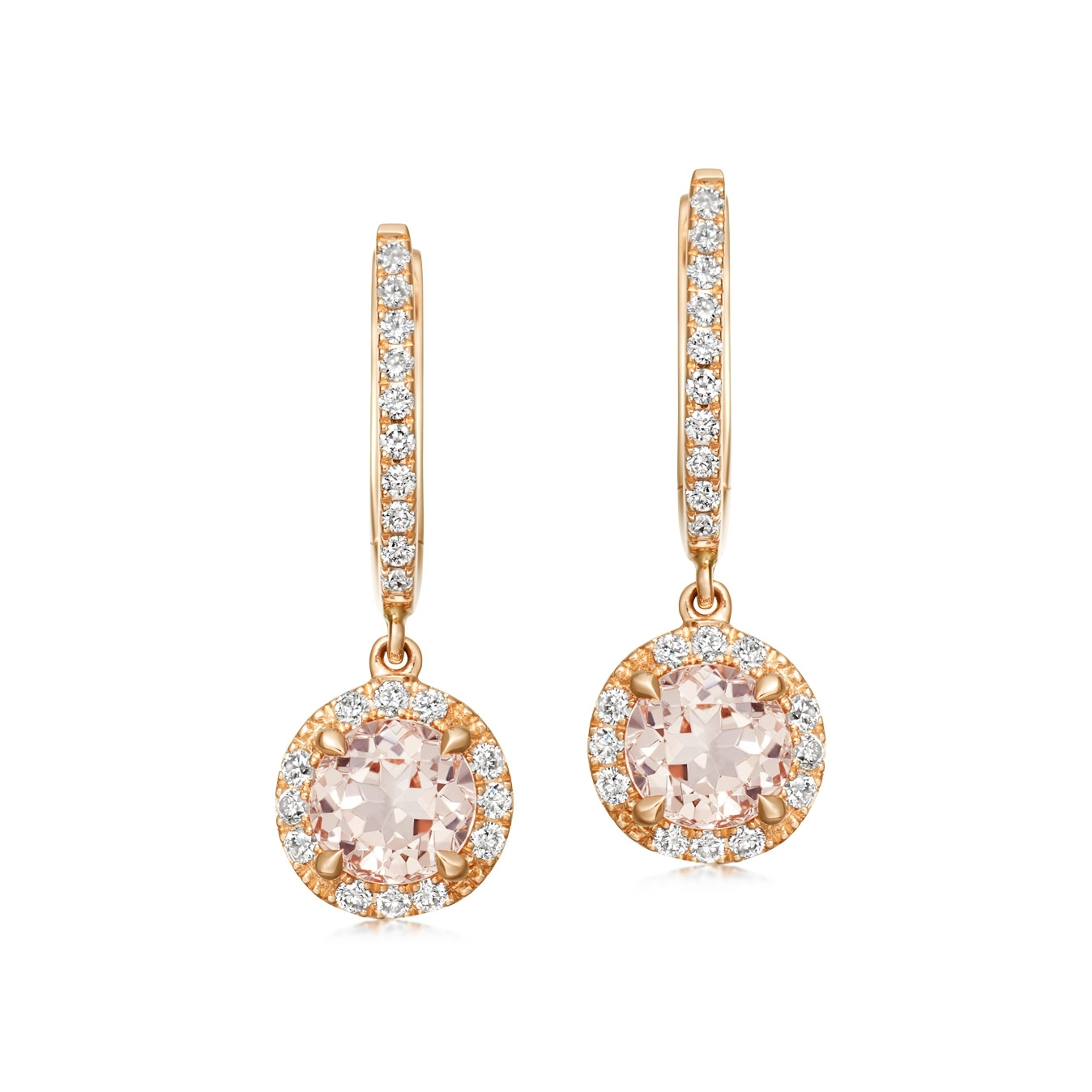 Morganite and Diamond Drop Earrings