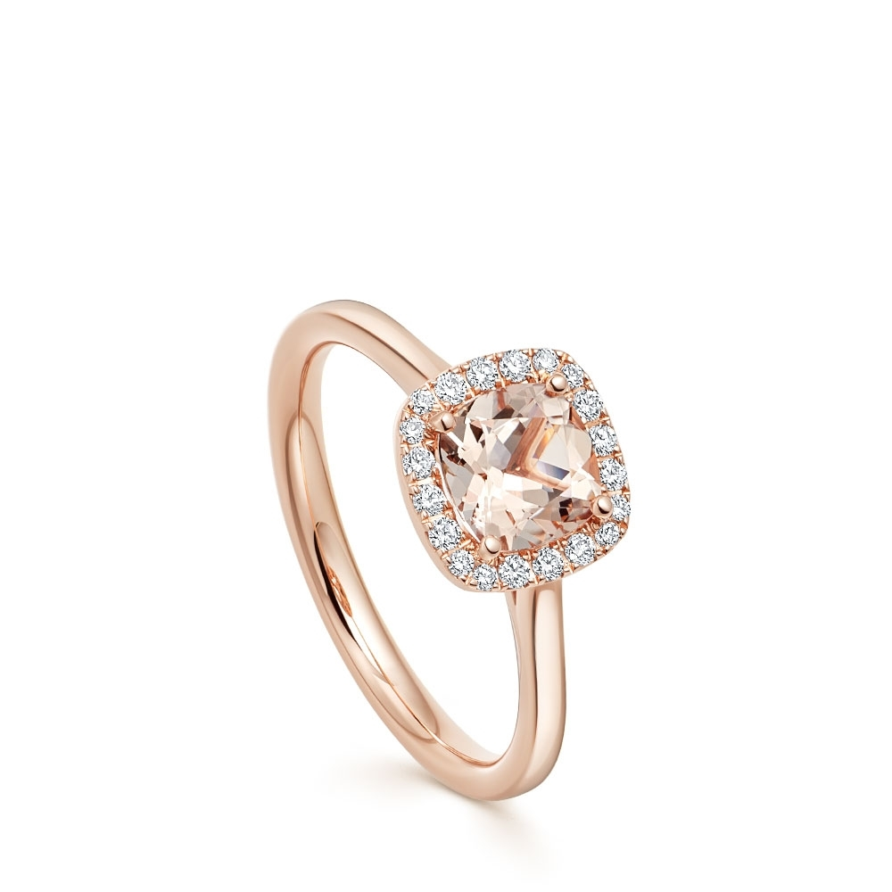 Cushion Morganite & Diamond Halo Ring