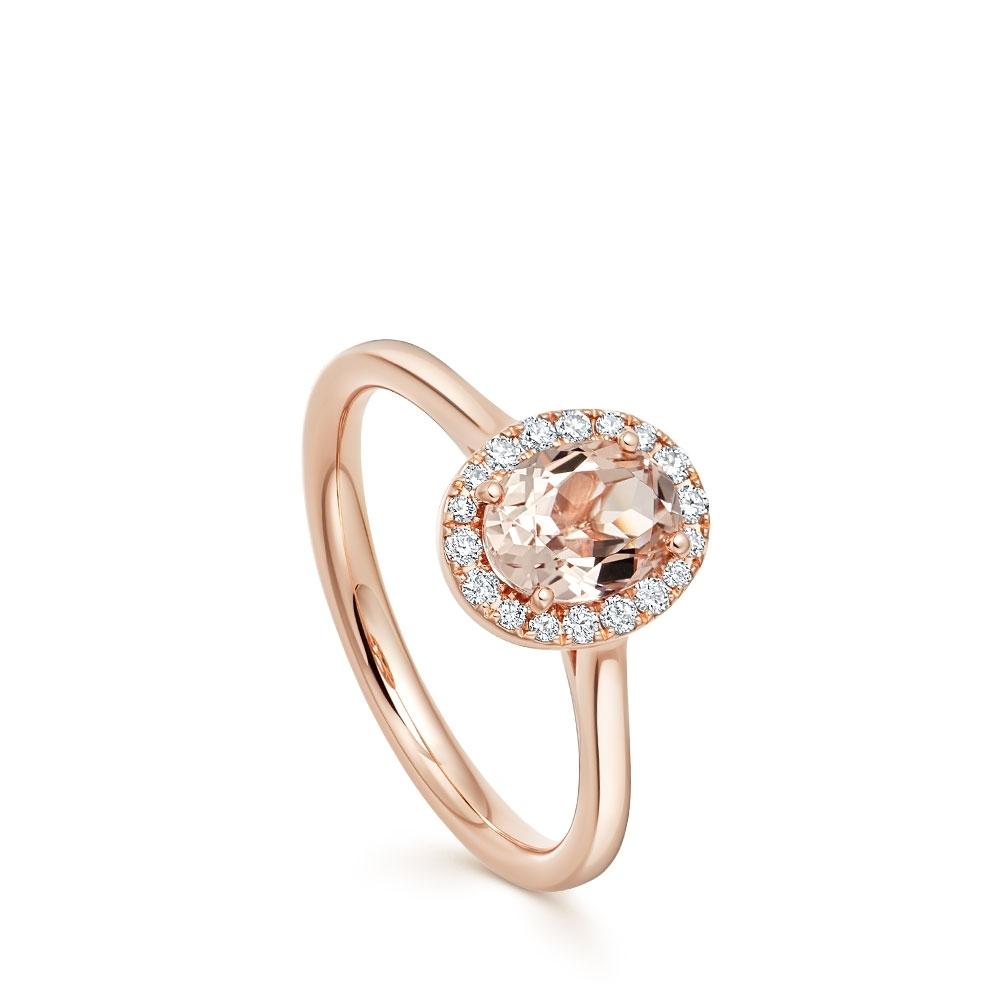 Oval Morganite & Diamond Halo Ring