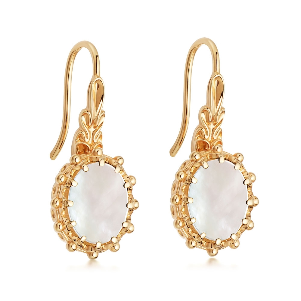 Mother Of Pearl Floris Drop Earrings