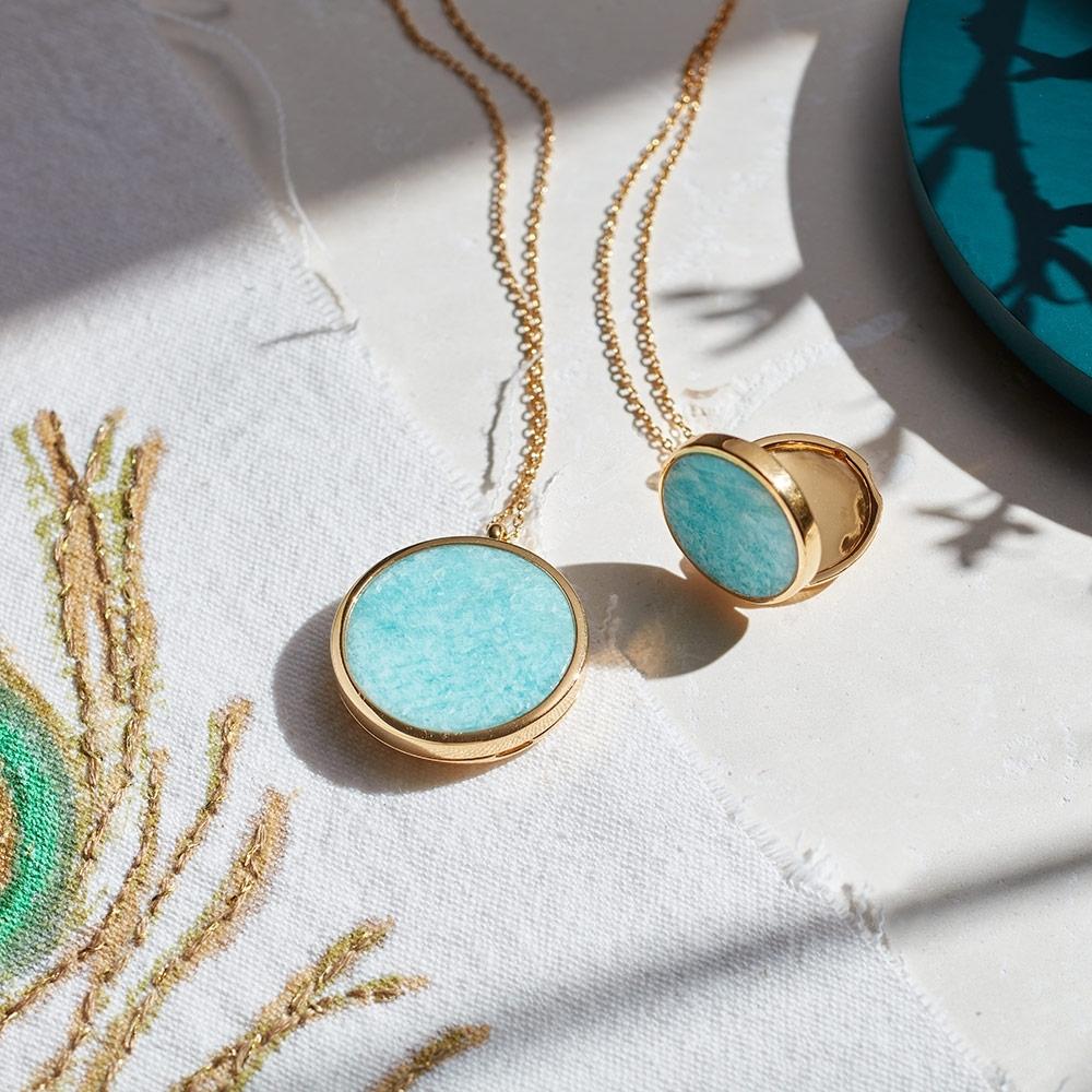 Large Stilla Amazonite Locket Necklace