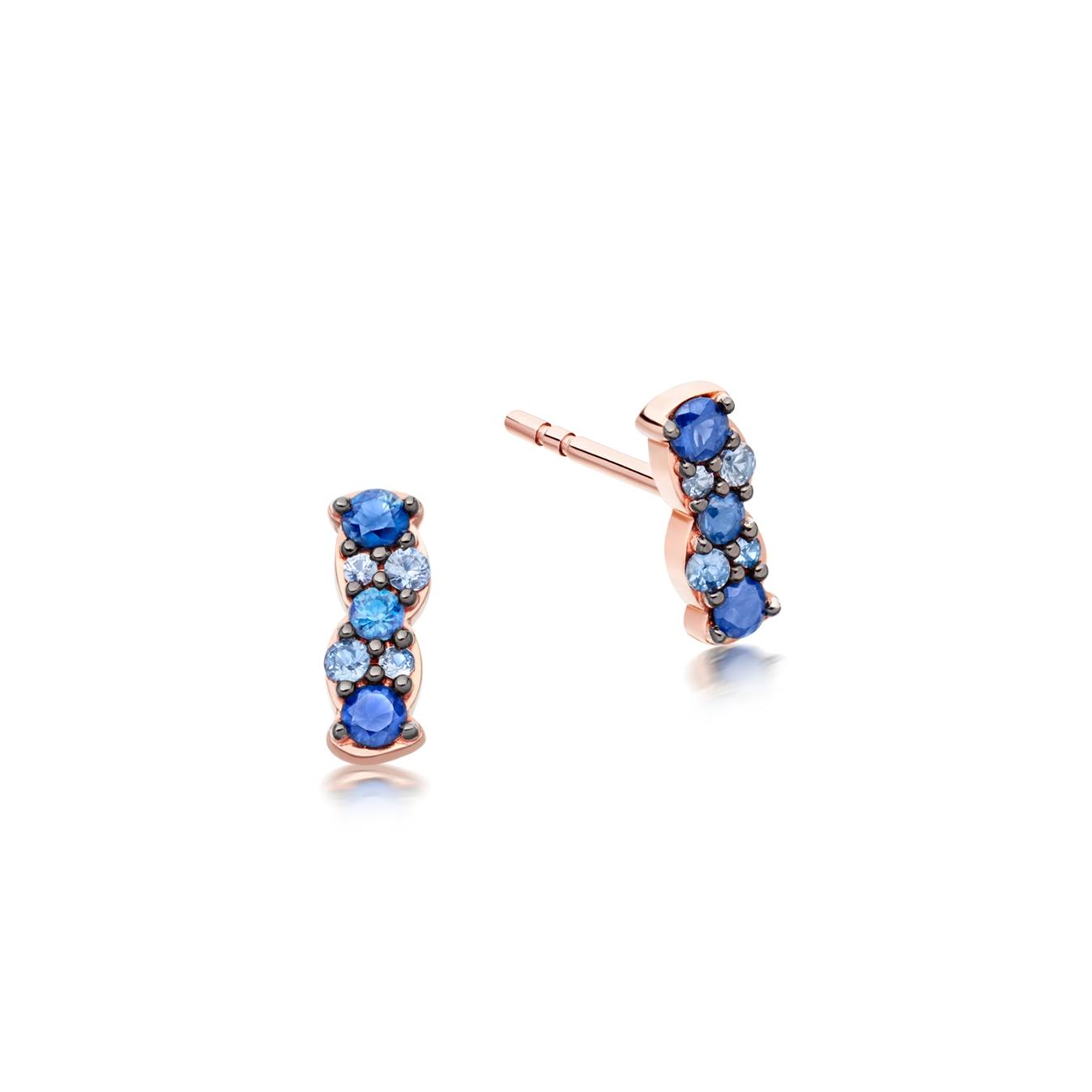 Interstellar Sapphire Bar Stud Earrings