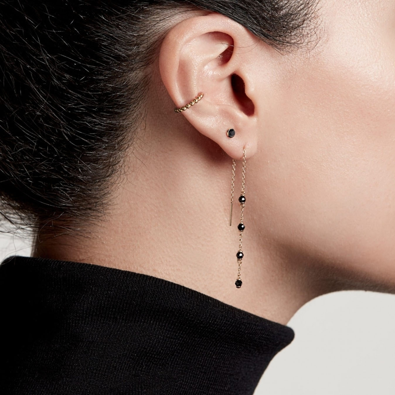 Mini Stilla Black Onyx Single Stud Earring