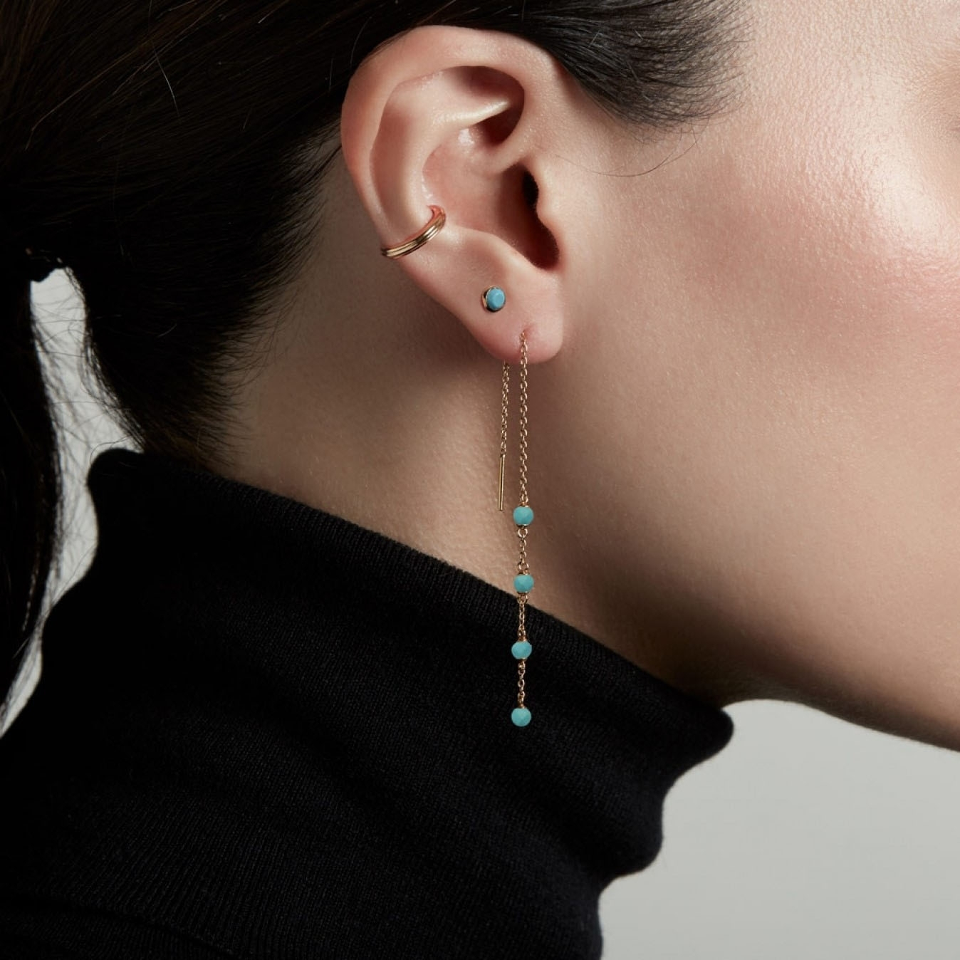 Stilla Turquoise Chain Earrings