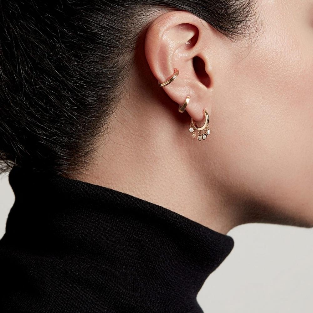 Biography Droplet Moonstone Hoop Earrings