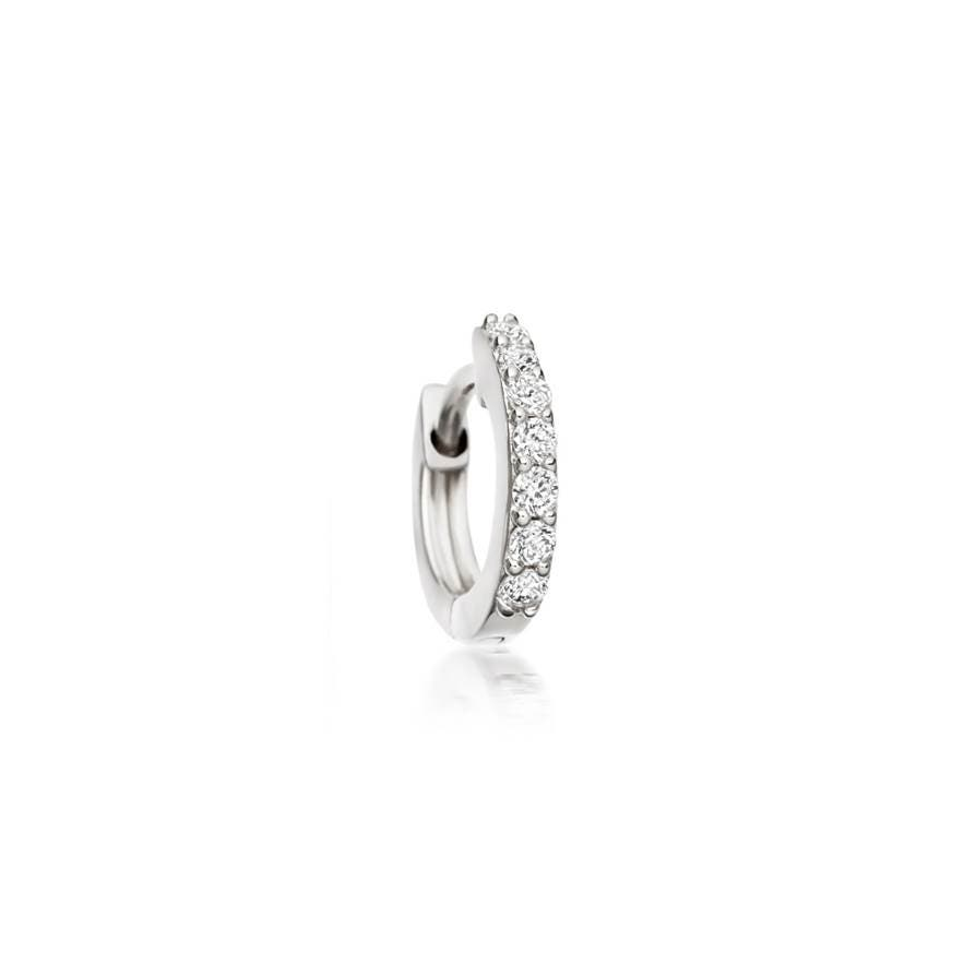 Mini Halo Diamond Single Hoop Earring