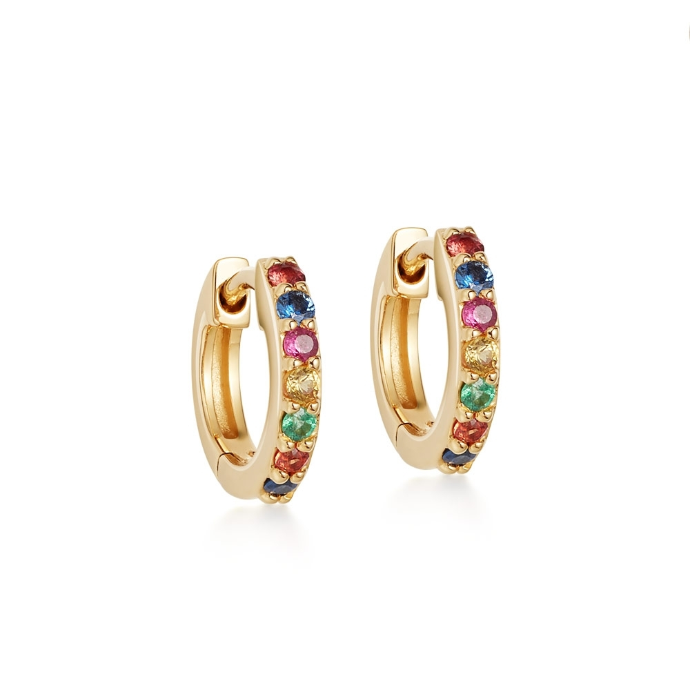 Mini Halo Sapphire Rainbow Hoop Earrings
