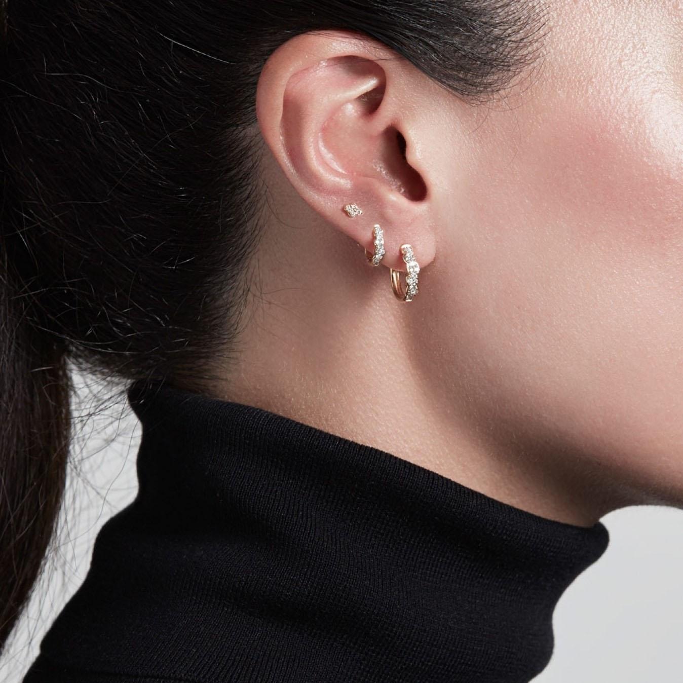 Mini Interstellar Diamond Hoop Earrings