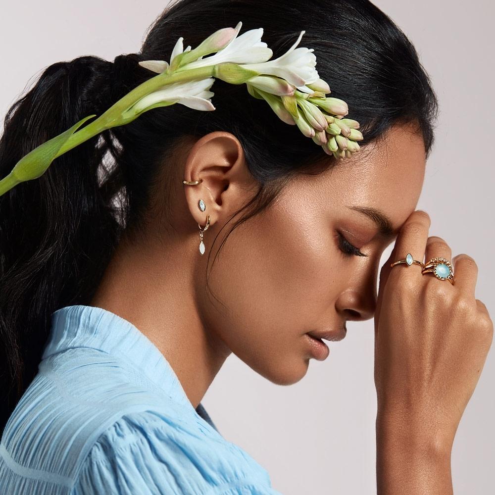 Paloma Petal Milky Aquamarine Drop Earrings