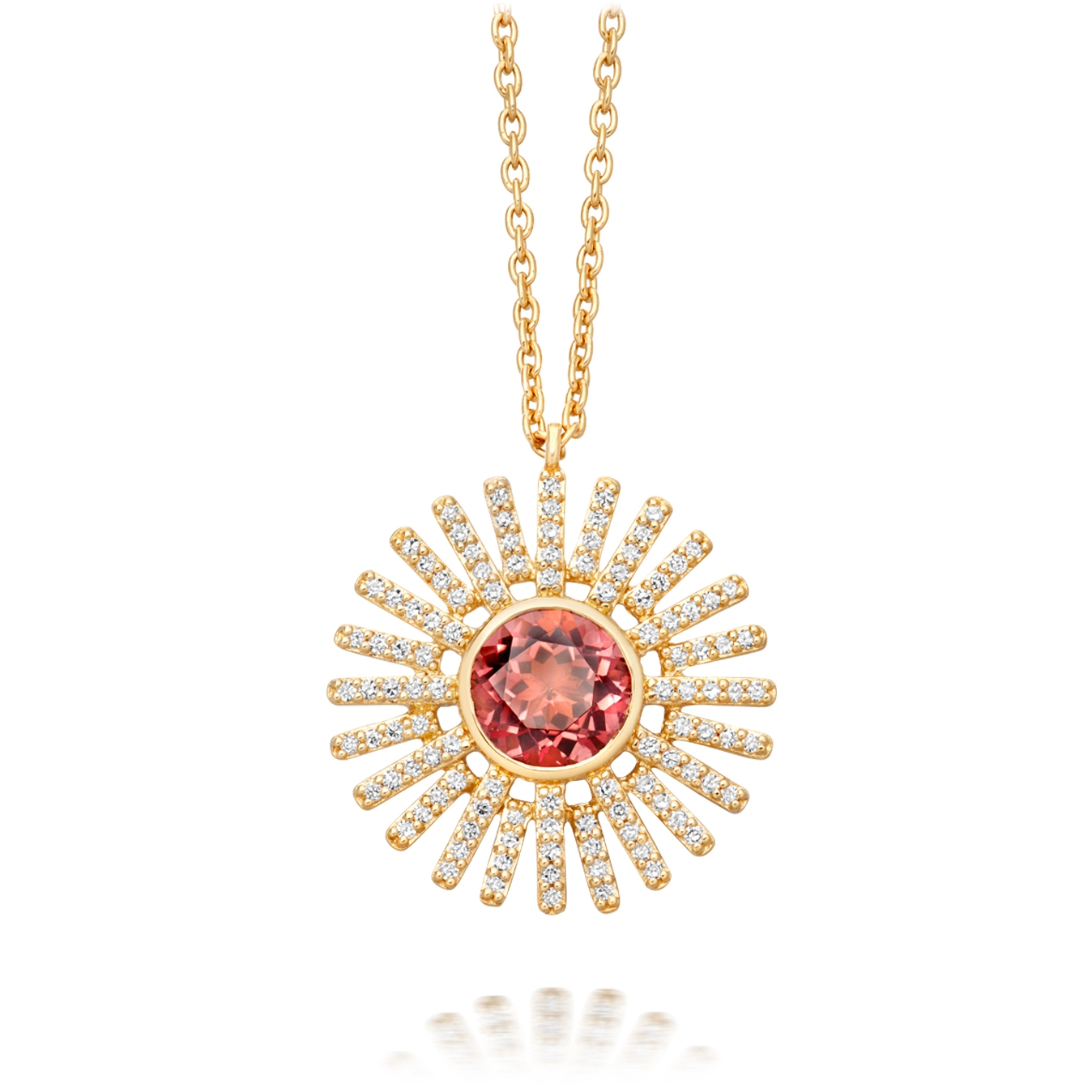 Pink Tourmaline Rising Sun Pendant Necklace