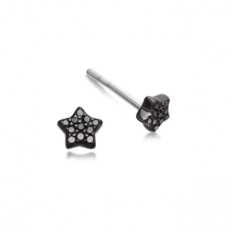 Black&Black Tiny Star Stud Earrings